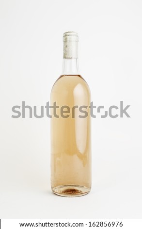 White wine bottle glass, detail of a bottle with an alcoholic beverage, liquor of grapes - stock photo