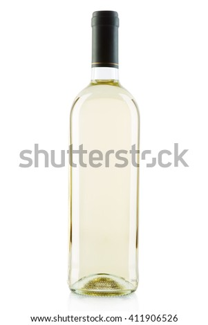 White wine bottle isolated on white, clipping path included - stock photo