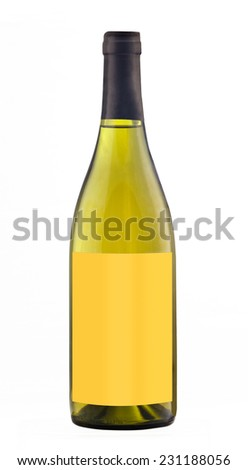 White wine bottle isolated with blank label for your text or logo.