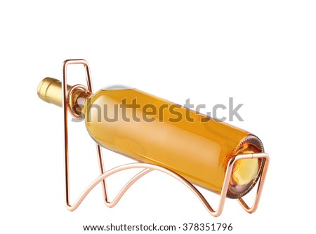 White wine bottle  on a metal wine rack isolated on white - stock photo