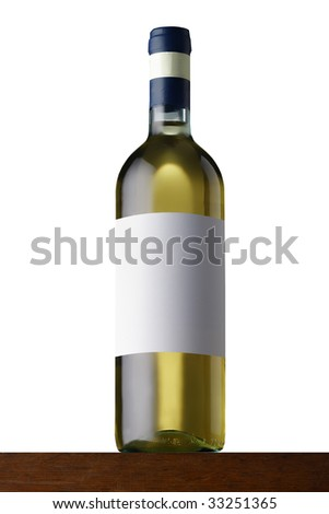 white wine bottle on wood - stock photo