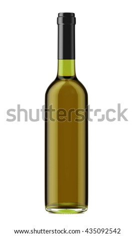 White wine bottle with black plug isolated on white background. 3D Mock up for your design. - stock photo