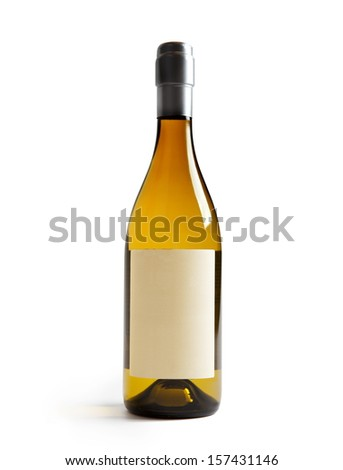 White wine bottle with Blank paper label (real paper). Label is at eye level so inserted elements do not need to be curved (wrapped around) so much. Focus on label. Isolated on white. - stock photo