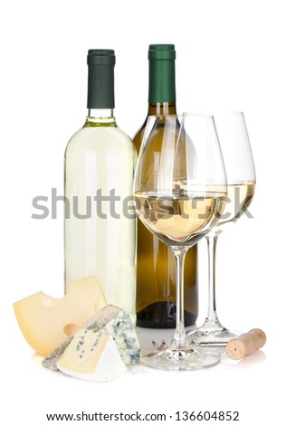 White wine bottles, two glasses, cheese and corkscrew. Isolated on white background - stock photo