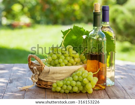 White wine bottles, vine and bunch of grapes outdoor