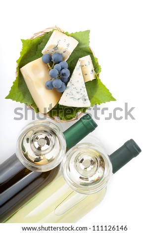 White wine, cheese and grape. Closeup. View from above. Isolated on white background - stock photo