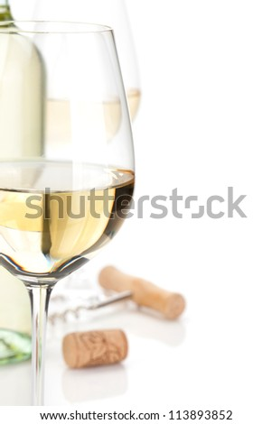 White wine closeup. Isolated on white background - stock photo