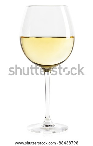 White wine glass isolated on white. - stock photo