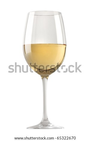 White wine glass isolated over white background - stock photo