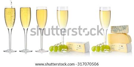 White wine glass set isolated on white background - stock photo