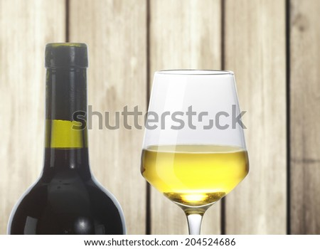 white wine glasses on a wood - stock photo