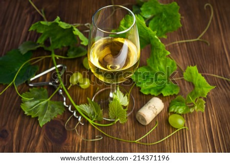 White wine in a glass with vine on a wooden background - stock photo