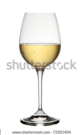 White wine in glass. Isolated on white background - stock photo