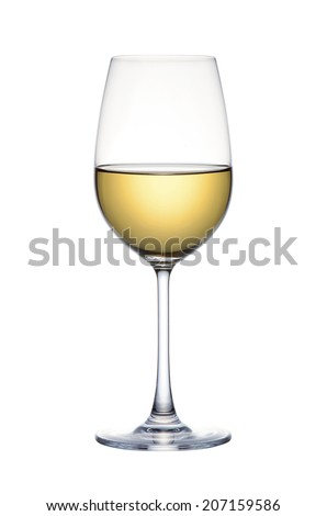 White wine in glass isolated over white background