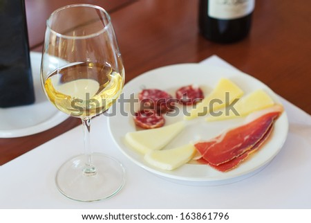 White wine in glass with Prosciutto and Cheese - stock photo