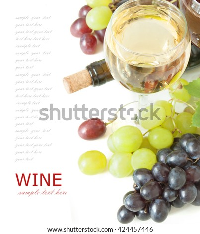 White wine in glasses, bottle and grapes with leaves isolated on white background - stock photo