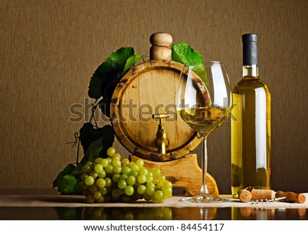 White wine on the table. - stock photo