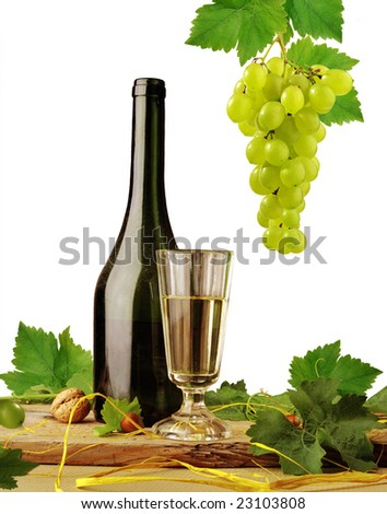 White wine on white background - stock photo