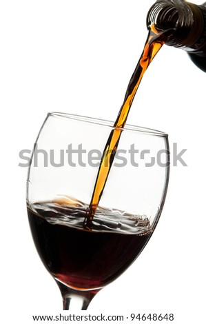 White wine pouring isolated on a background