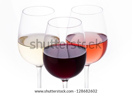white wine, rose, red wine