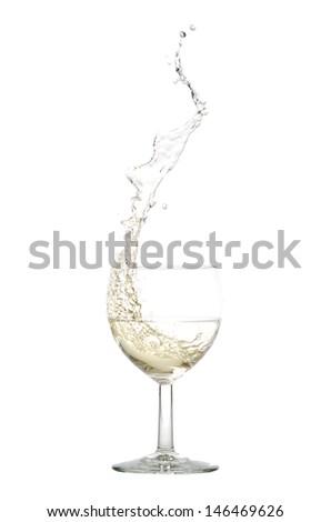 white wine splash before white background - stock photo