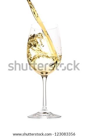white wine splash isolated on white - stock photo