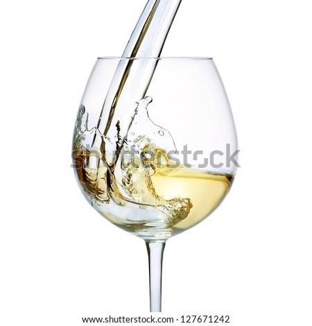 White wine splash isolated on white background - stock photo