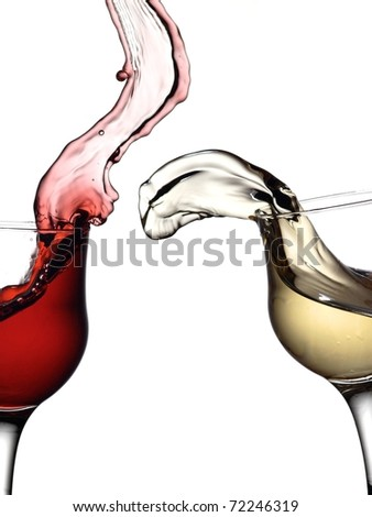 White wine up to red wine - stock photo