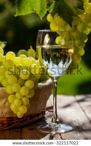White wine, vine and bunch of grapes on garden table