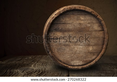 White wine with barrel - stock photo