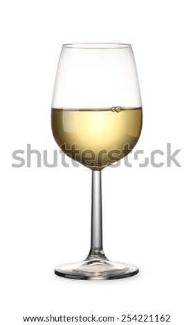 White Wine with clipping path - stock photo