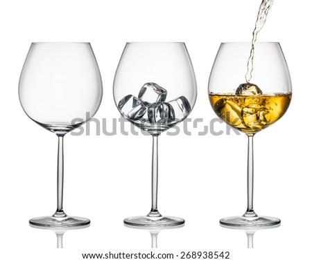 white wine with ice - stock photo