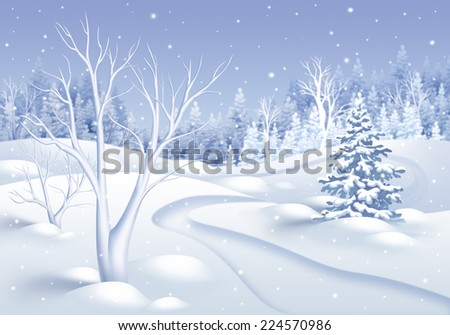 white winter nature landscape illustration, holiday frozen forest background
