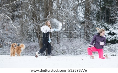 white winter snowball fight