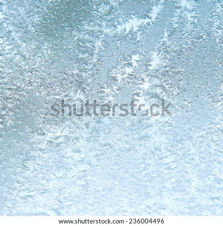 White wintry hoarfrost background on a window - stock photo