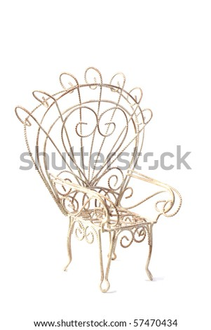 White wire chair with large back - stock photo