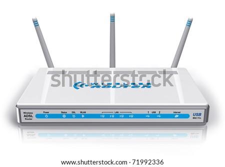 White wireless ADSL router - stock photo