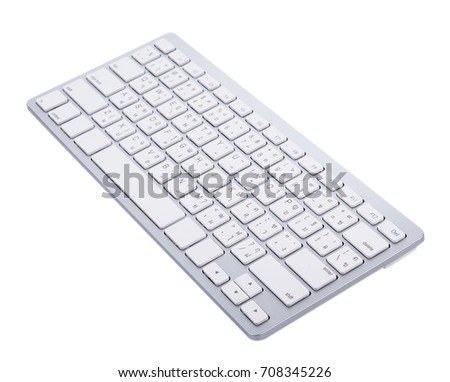 White wireless keyboard top view with keys