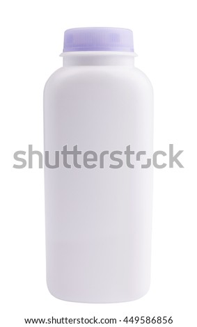 White with purple cap bottle on a white background. With clipping paths.