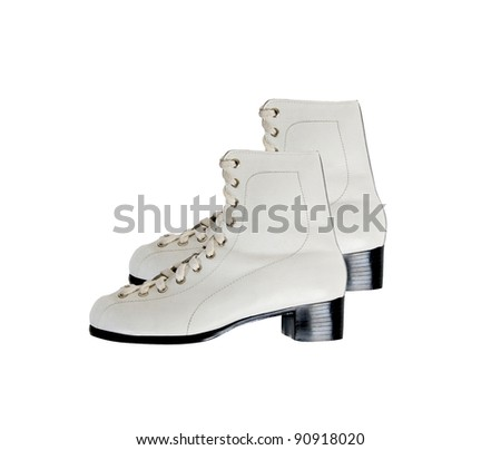 White woman boots isolated on white background