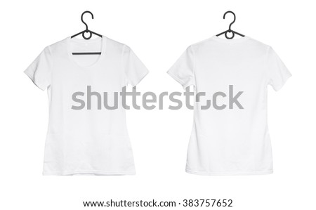 white woman t-shirt on hanger