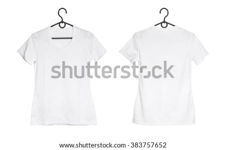 white woman t-shirt on hanger - stock photo
