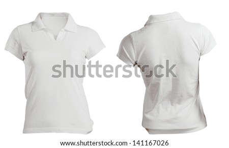White women's polo shirt, front and back design isolated on white - stock photo