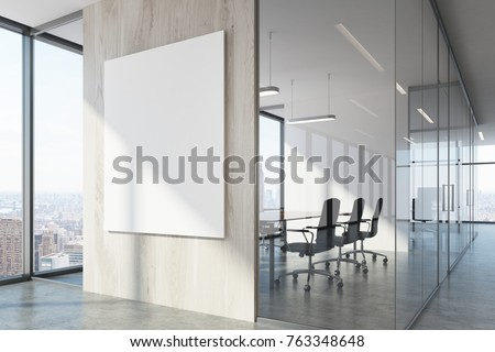 White Wood Office Waiting Area With Loft Windows A Concrete Floor Vertical Poster