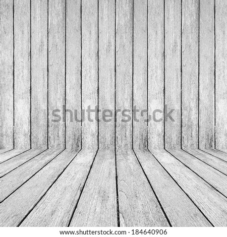 White wood perspective background for room interior - stock photo