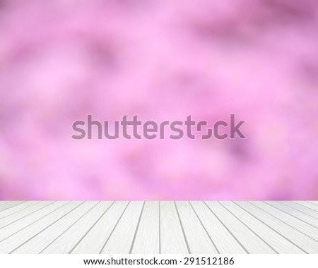 white wood terrace with abstract blur background - stock photo