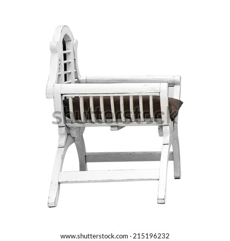 White wooden chair isolated on white background - stock photo