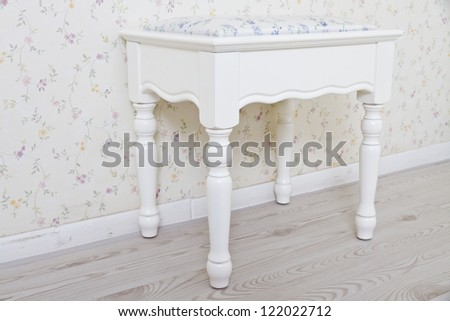 White wooden chair, put in the bedroom - stock photo