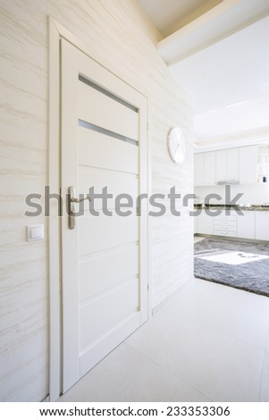White, wooden door in bright, modern house - stock photo