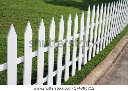 white wooden fence in farm - stock photo
